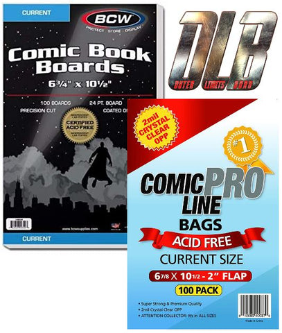 2mil Crystal Clear Current OPP Bags // BCW Comic Boards Current Size 100pk Bundle