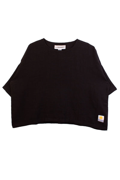 Basic Linen Top Black
