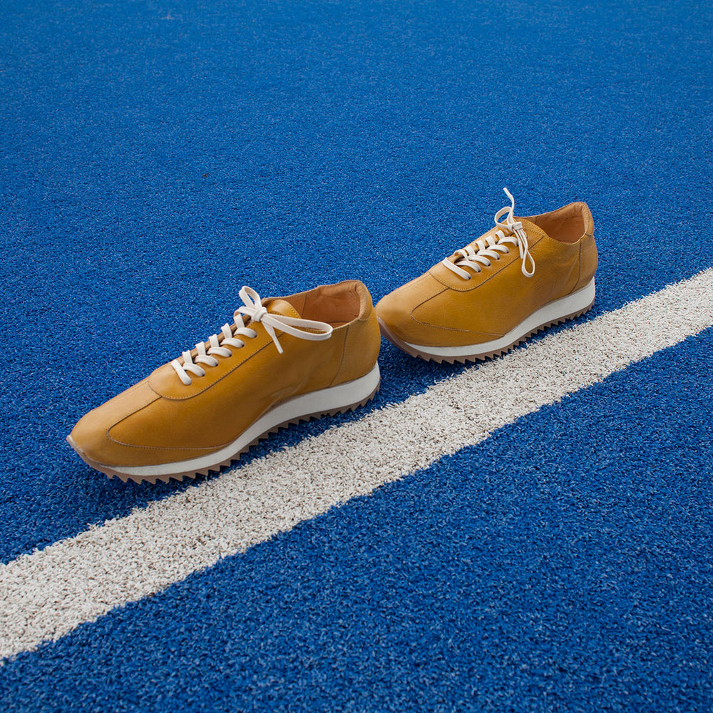 Leather Running Shoe Yellow