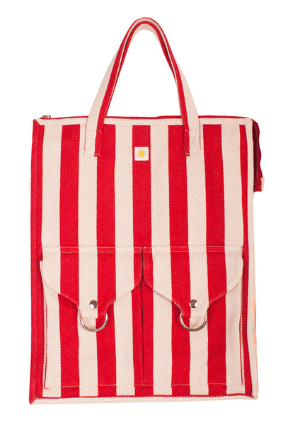 Striped Shopper Red