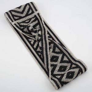 Czech Glass Bead Infinity Scarf-Black and Silver