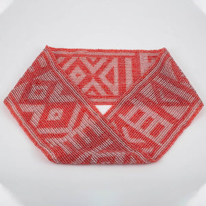 Czech Glass Bead Infinity Scarf-Coral and Silver