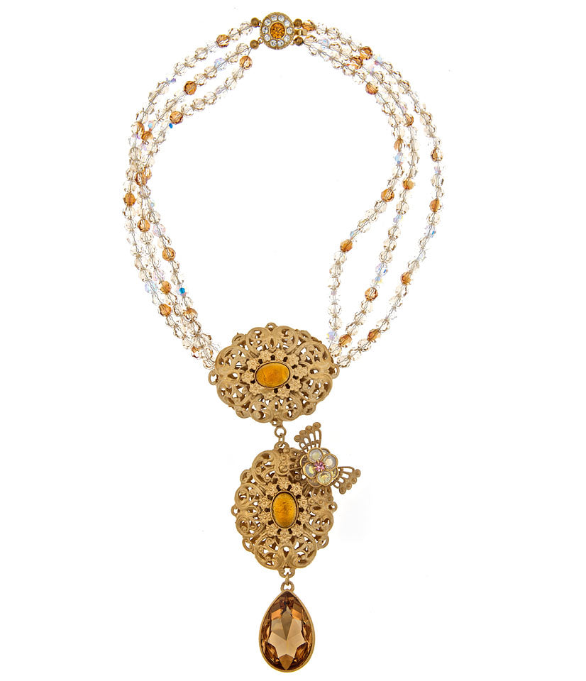 Swarovski Crystal Necklace With Gold Pendant