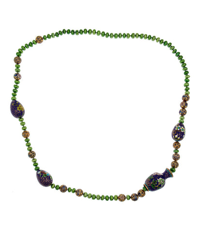 Cloisonne and Pearl Necklace