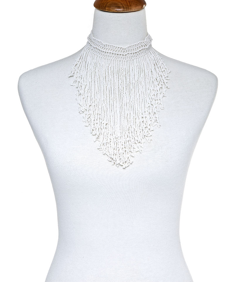 White Seed Bead Bib Necklace