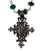 Cabochon Cut Emerald Cross Necklace