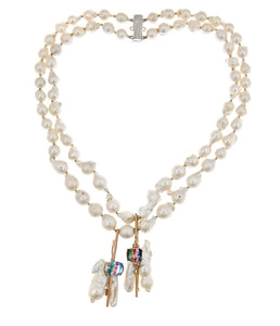 Double Strand Baroque Pearls With Antique Bar Brooches