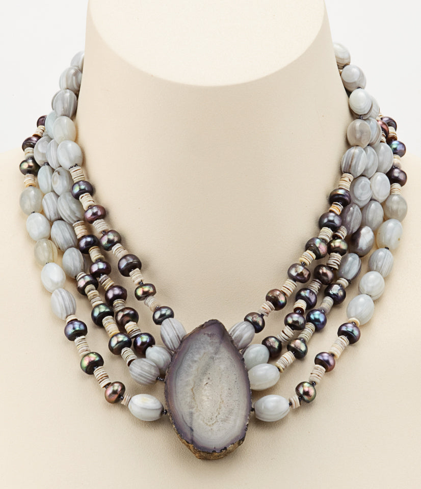 Botswana Agate Necklace With Freshwater Pearls