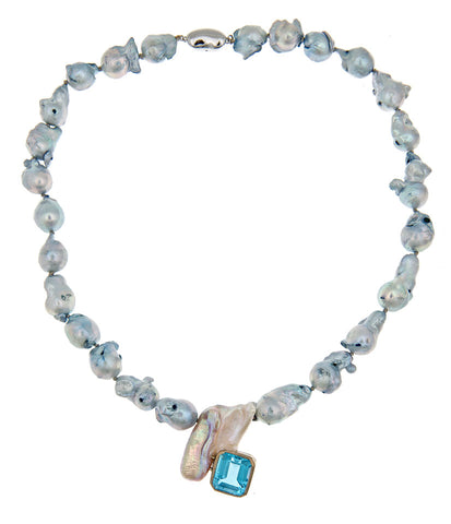 Blue Topaz And Bi-Colored Biwa Pearl