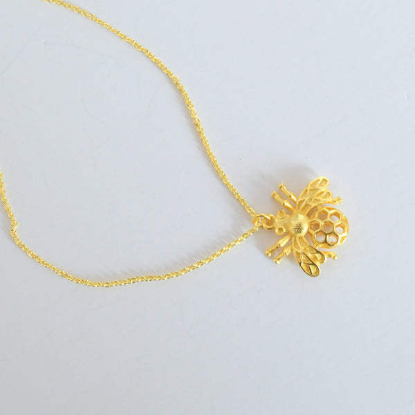 beck & boosh bumblebee necklace brass fashion jewelry comes in gold and silver a bumblebee pendant on a delicate chain