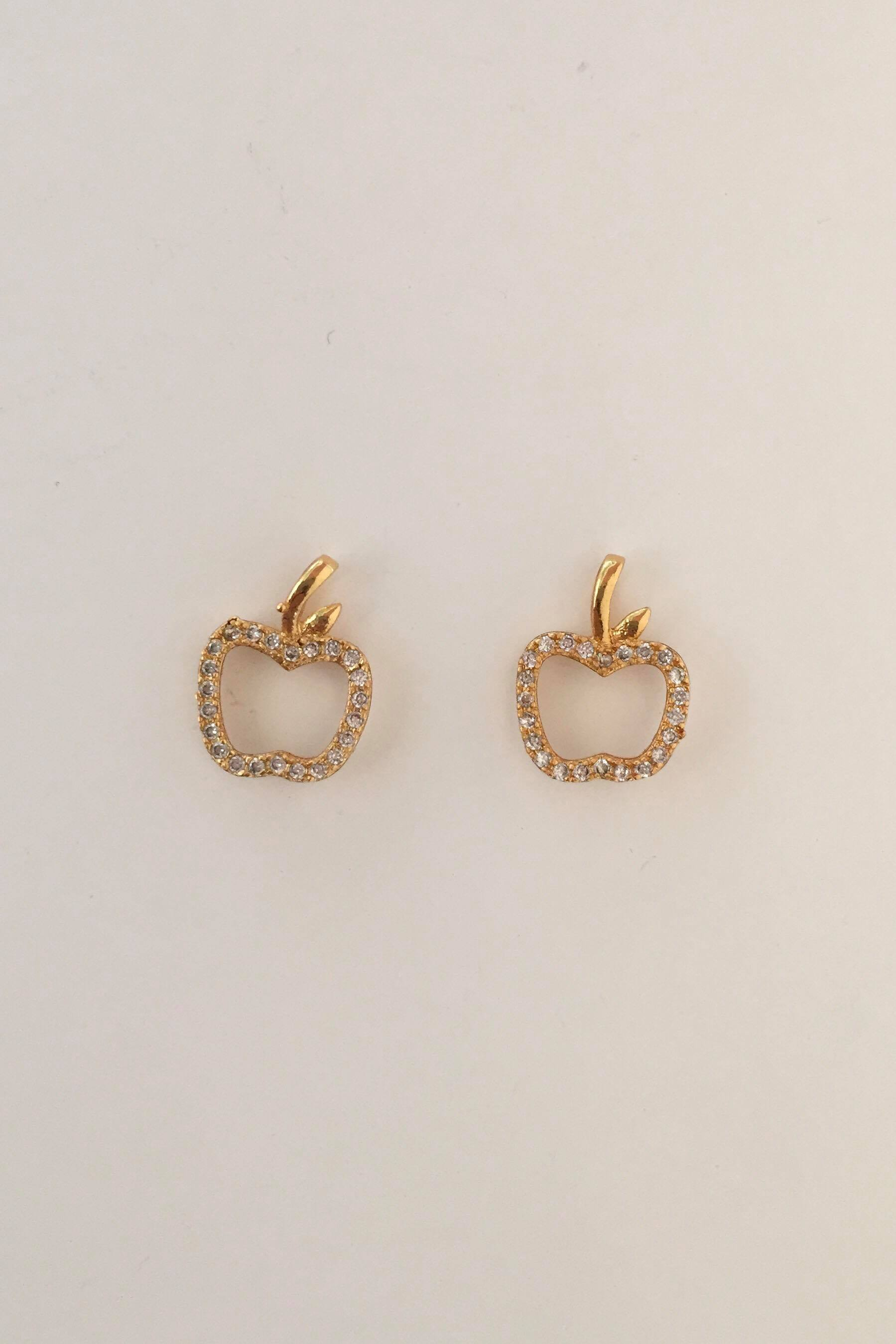 RHINESTONE APPLE STUDS