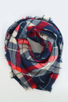 beck & boosh accessories full and half sized blanket scarf a blue white and red plaid