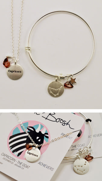 beck & boosh horoscope collection fashion jewelry capricorn bracelet capricorn necklace zodiac jewelry with charms and raw gems