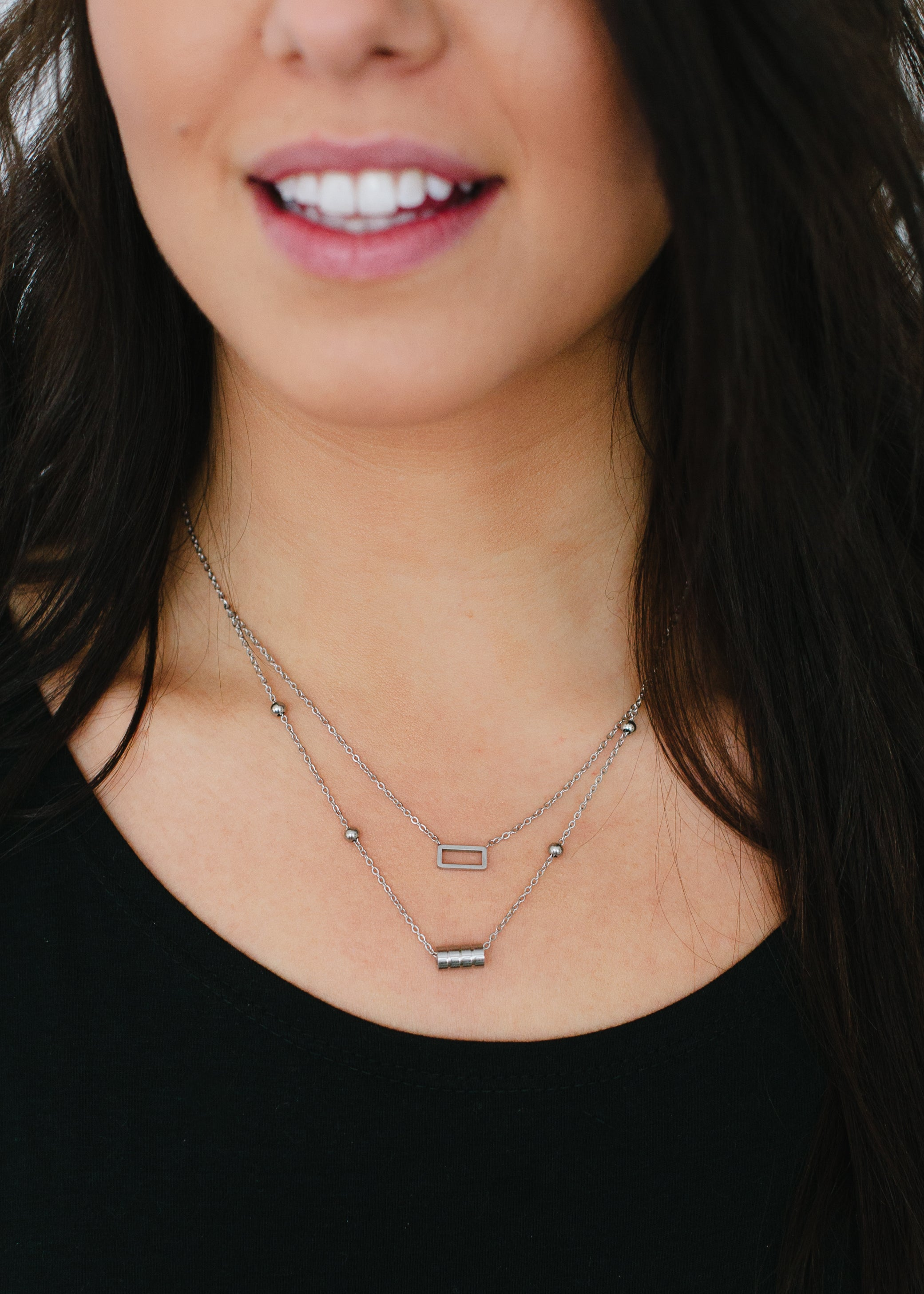 Beck & Boosh Double Fancy Necklace Two Chain One with Open Rectangle One with Four Circles In Silver Stainless Steel On Model