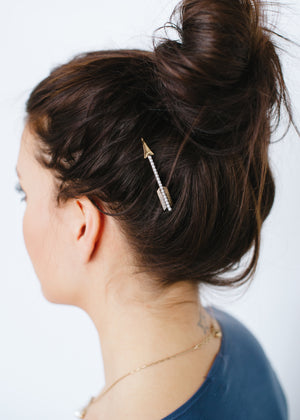 Beck & Boosh Celestial Hair Pin Set Arrow  Rhinestone and Pearl Tarnished Gold On Model