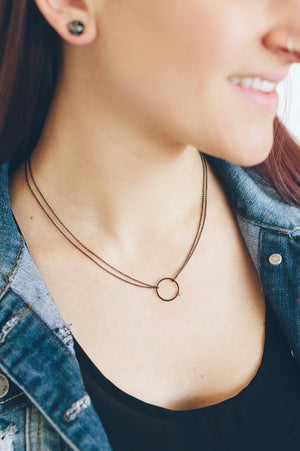 DOUBLE CHAIN CIRCLE NECKLACE