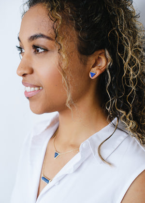 Beck & Boosh Egypt In Marble Triangle Studs with Gold Base Blue Marble Center On Model