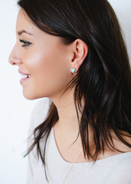 Beck & Boosh Egypt In Marble Triangle Studs with Gold Base Green Marble Center On Model