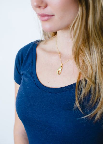 Beck & Boosh Lobster Claw Pendent Short  Necklace Plated in Gold On Model