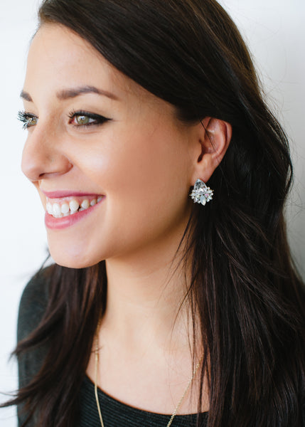 Beck & Boosh Modern Vintage Jewelette Studs Teardrop Rhinestone Center Flanked with Smaller Oval Stones In Opal On Model