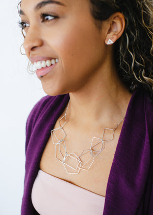 Beck & Boosh Geo Scribbles Necklace Linked Geometric Shapes Silver Plated On Model