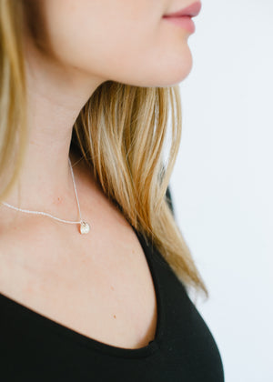 Beck & Boosh Oyster & Pearl Short Necklace Double Shell with Inside Pearl Plated in Silver On Model