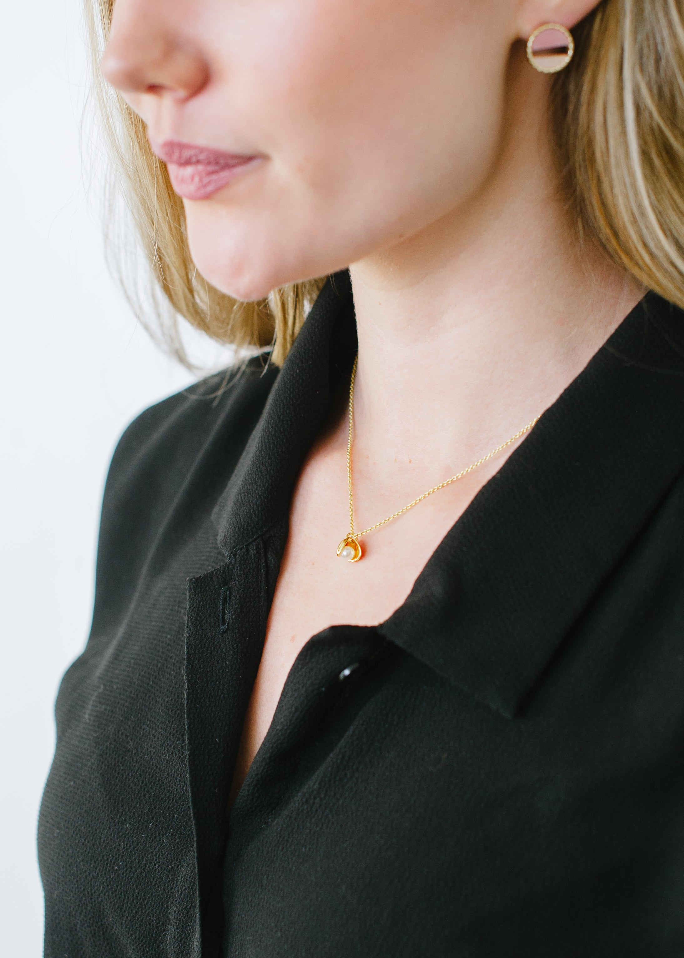 Beck & Boosh Oyster & Pearl Short Necklace Double Shell with Inside Pearl Plated in Gold On Model