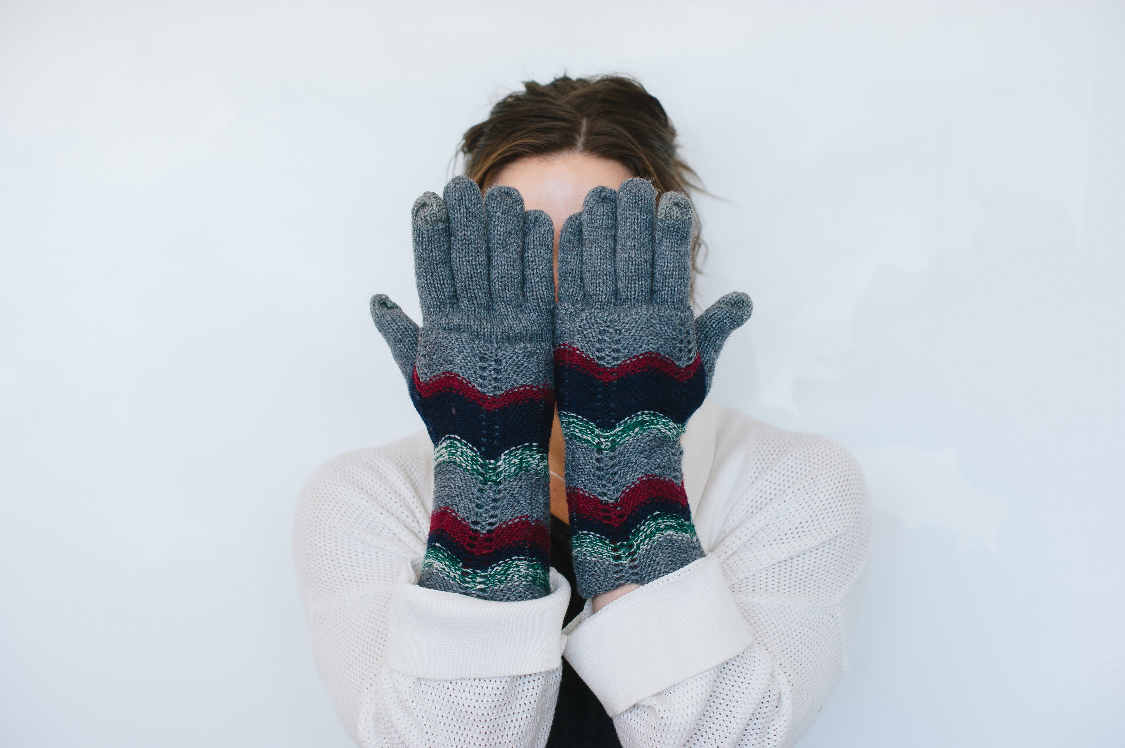 Beck & Boosh Accessories Knit Gloves with Long Cuff and Herring Bone Stripe Colored Pattern on Cuff Grey Knit On Model