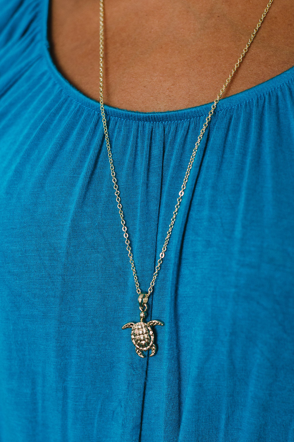 Beck & Boosh Sea Turtle Long Necklace Plated Gold Sea Turtle Pendant Hangs From Long Plated Gold Chain On Model