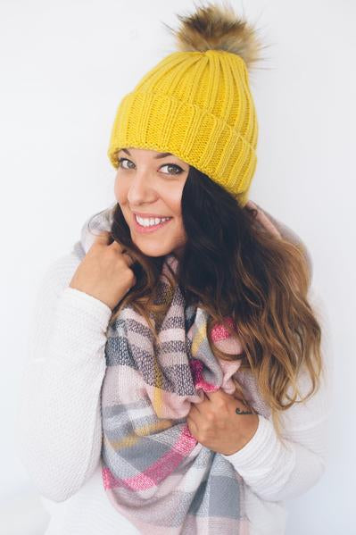 beck & boosh accessories full and half sized blanket scarf in light pink plaid with yellow and grey accents
