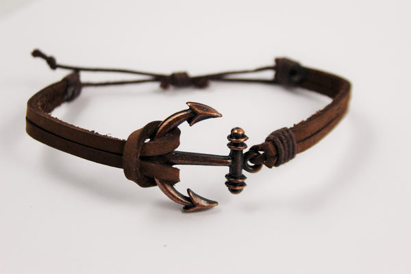 LEATHER ANCHOR BRACELET - UNISEX