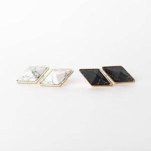 Beck & Boosh Abundance 3-D Studs 3D Diamond Shape Black or White Marble With Gold Rim