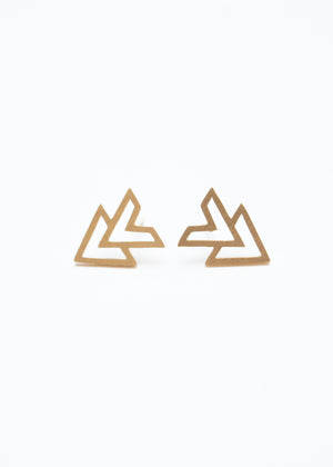 Beck & Boosh accelerator triangle stud earrings plated in gold