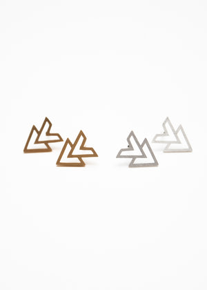 Beck & Boosh accelerator triangle stud earrings plated in gold and silver