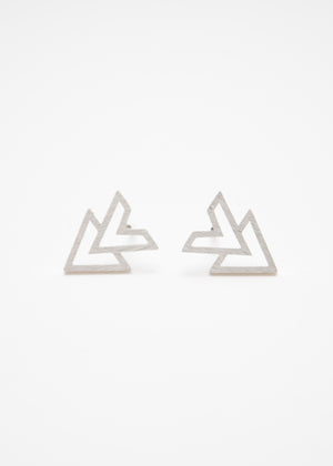 Beck & Boosh accelerator triangle stud earrings plated in silver