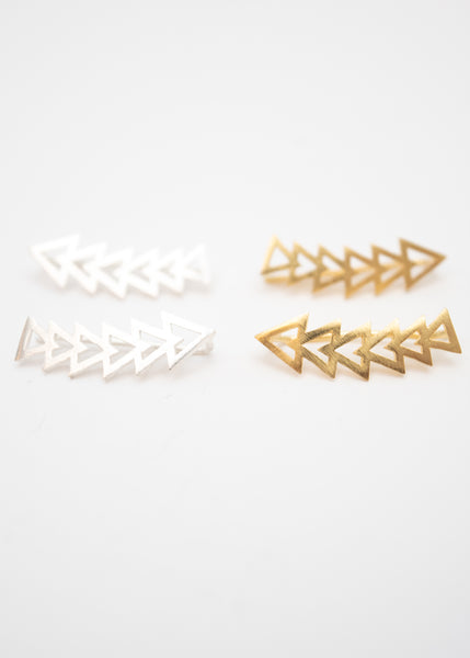 Beck & Boosh triangle accelerator ear crawler earrings plated in gold and silver