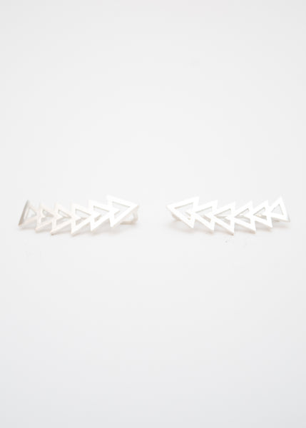 Beck & Boosh triangle accelerator ear crawler earrings plated in silver