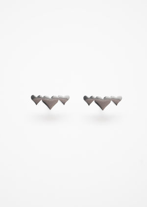 Beck & Boosh Adora Studs Silver Three Small Hearts Stainless Steel