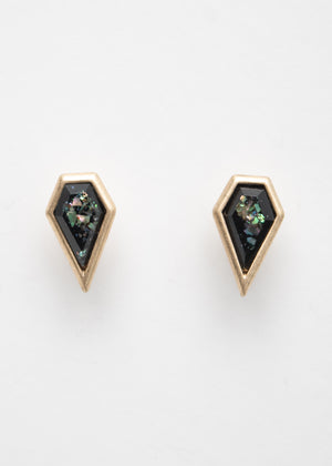 Beck & Boosh Hepburn Ear Jacket Angular Black Iridescent Stud With Tarnished Gold Frame
