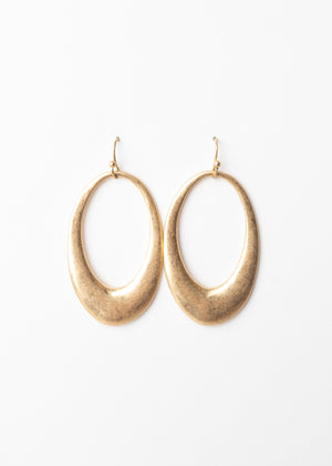 Beck & Boosh Amelia Dangles Hollow Oval Shaped Dangle Earrings Plated Brushed Gold