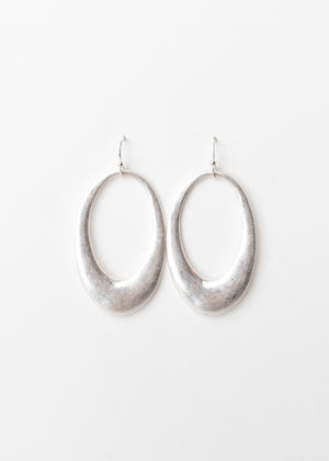 Beck & Boosh Amelia Dangles Hollow Oval Shaped Dangle Earrings Plated Brushed Silver