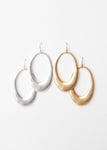 Beck & Boosh Amelia Dangles Hollow Oval Shaped Dangle Earrings Plated Brushed Silver and Gold
