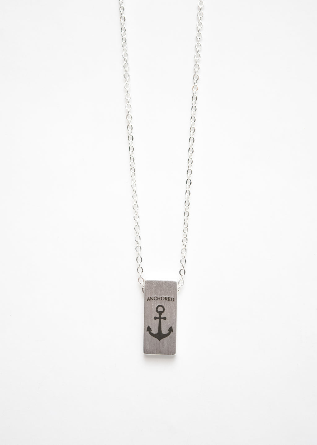 Beck & Boosh Anchored Necklace Silver Stamped Anchor Pendant Silver Plated