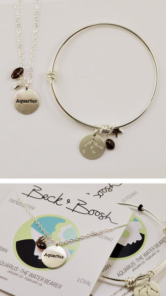 beck & boosh horoscope collection fashion jewelry aquarius bracelet aquarius necklace zodiac jewelry with charms and raw gems