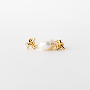 Beck & Boosh Baroque Knot Studs Gold knot stud with pearl dangle