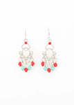 Beck & Boosh Beaded Dangle Earrings Alternating Magenta and Turquoise Beads Hang From Delicate Plated Silver Frame
