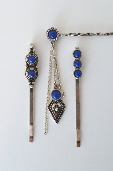 beck & boosh vintage inspired gypsy antique look hair pins in a set of 3 in silver with blue stone accents for fun hair styles