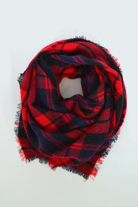 beck & boosh accessories full and half sized blanket scarf in a beautiful navy and bright red plaid