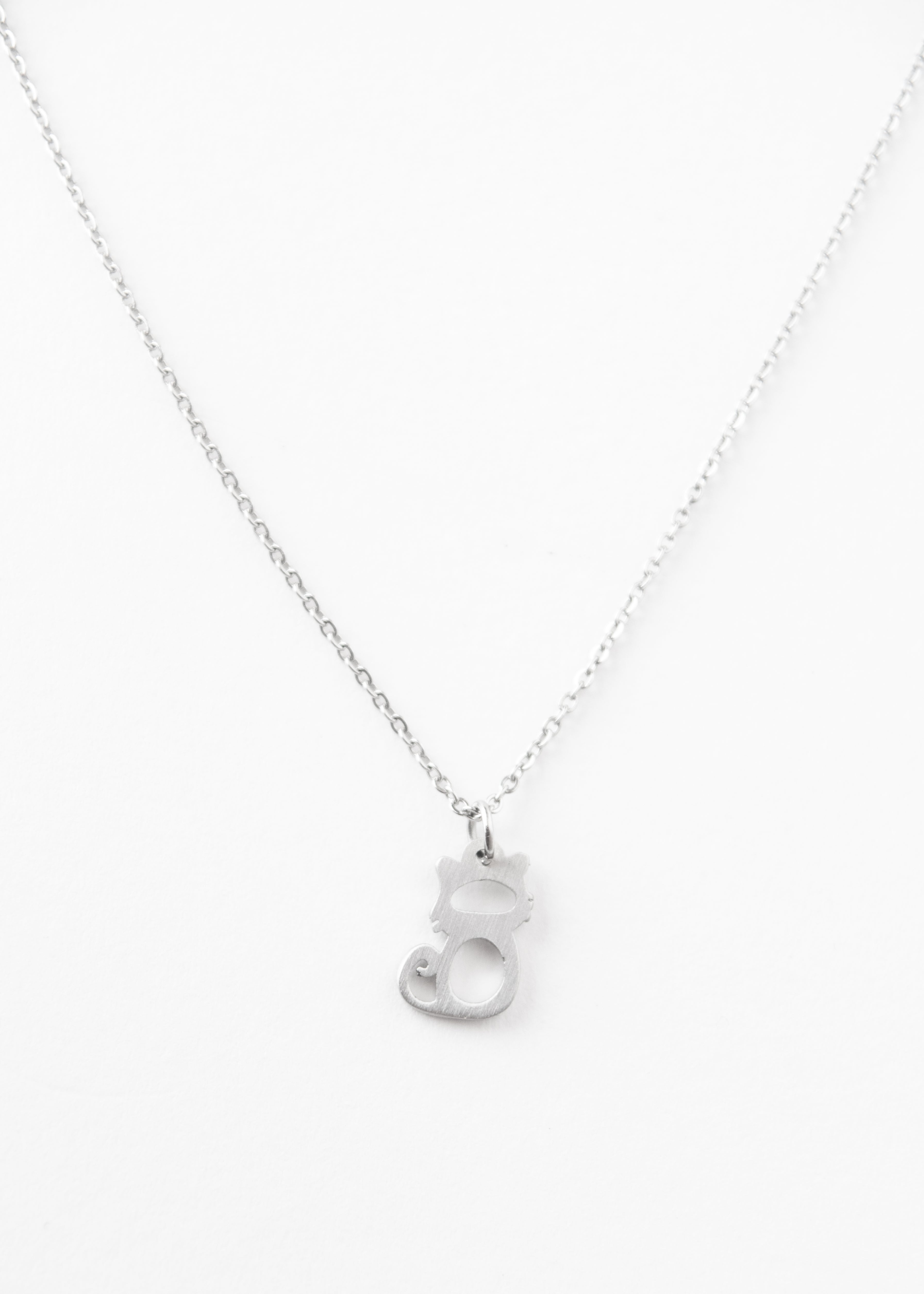 Beck & Boosh Little Cat Necklace Small Necklace With Small Cat Pendant Plated Silver Stainless Steel