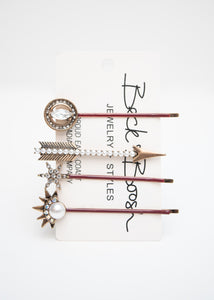 Beck & Boosh Celestial Hair Pin Set Variety of Four Arrow Circle Star Burst Rhinestone and Pearl Tarnished Gold
